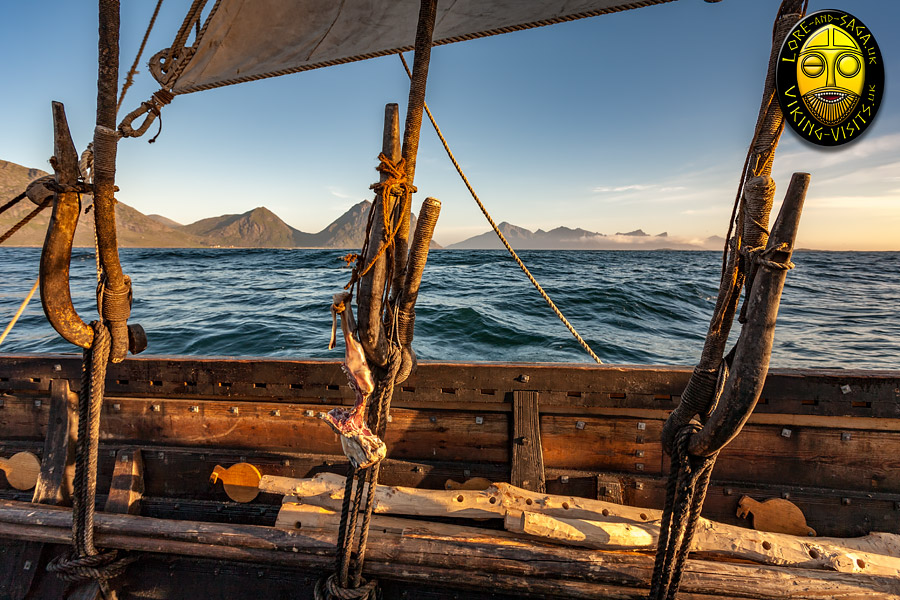Viking Longshipsetting out from the coast of Norway.